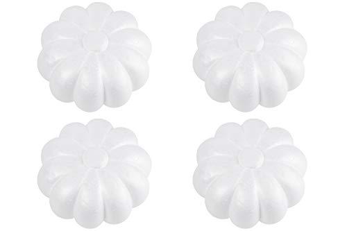 (Foam Pumpkins - 4-Pack Pumpkin Polysterene Foam Ball for DIY Decoration Craft Projects, Kids Art Class, Halloween, Thanksgiving Decoration, White, 5.75 x 5.75 x 3.75)