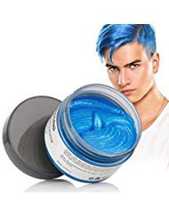 MOFAJANG Hair Color Wax Styling Cream Mud, Temporary Hair Dye Wax, Natural Hairstyle Dye Pomade for Party Cosplay, Halloween, 4.23 OZ (Blue)