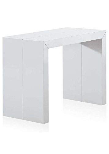 Menzzo AT8027 Contemporain Nassau Table Console Bois Laqué Blanc  50/100/150/200 x 100 x 75 cm