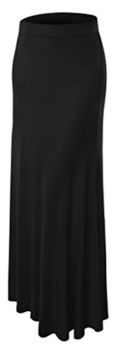 Womens Floor Length Maxi Skirt 2X-Large Black