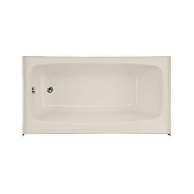 Shallow Depth Left Drain Bathtub In Biscuit