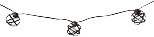 Noma/Inliten-Import 87494-88 10 Count Four Seasons Courtyard Brown Metal Orb String Light Set by Noma/Inliten