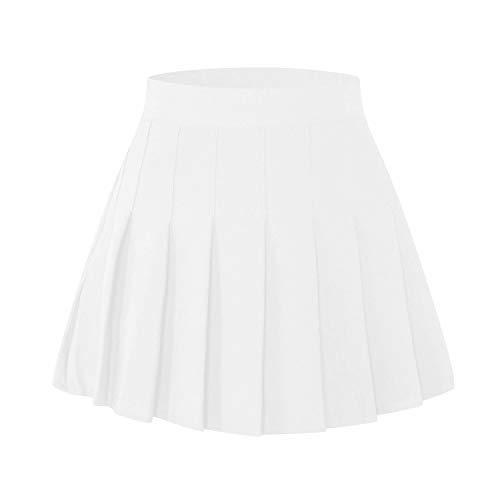 Toddler Little & Big Girls' Short Solid Plain Pleated School Uniform Cosplay Costume Skirt, White, 13-14 Years/Height 66.9