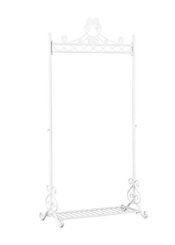 NEUN WELTEN Chic Coat Garment Rack Metal Hanging Clothing Racks Stand with Bottom Shelf for Shoes (White) Review