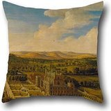 Oil Painting Jan Siberechts - Wollaton Hall And Park, Nottinghamshire Cushion Cases 16 X 16 Inches / 40 By 40 Cm Best Choice For Kitchen,kids Girls,home,indoor,chair,kids Room With Both Sides