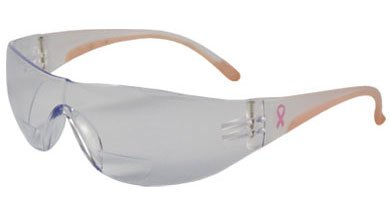Lady Eva 250-12-0200 Rimless Safety Readers with Clear/Pink Temple, Clear Lens and Anti-Scratch/Anti-Fog Coating - +2.00 - Glasses Women's Safety Bifocal