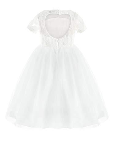 MSemis Flower Girl Lace Dress Heart Back Wedding Party Formal Communion Dresses Ball Gown White - Circle Flower Heart Girl