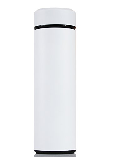 f73914337e5 Galleon - Langxun Double Wall Vacuum Insulated Stainless Steel Leak Proof  Water Bottle - 15oz Wide Mouth Hydro Travel Mug (White)