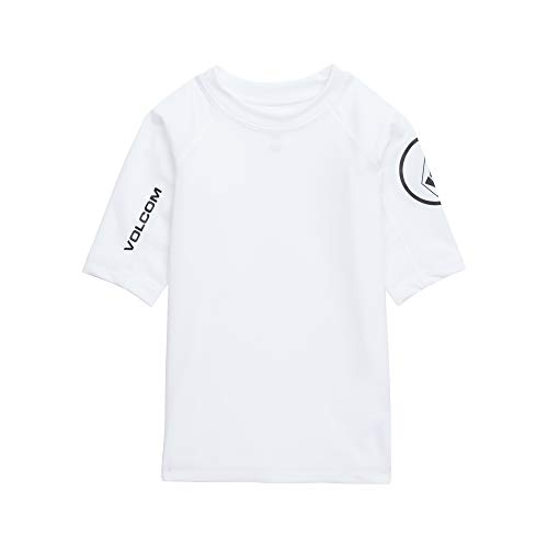 Volcom Boys Little Lido Solid Short Sleeve Rashguard, White, 6