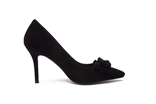 Black Shoes Solid Urethane Womens Nubuck APL11092 BalaMasa Bows Pumps Ow8Yppq