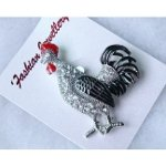 Figural Glass (Enamel Decorated Figural Rooster Brooch with Rhinestone Accents)