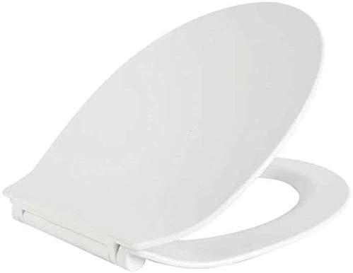 トイレ蓋便座、O型トイレ用ソフトクローズ抗菌1秒分解付き超薄型標準便座、白-42〜44 * 36.8cm