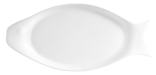 CAC China COL-F41 Super White Porcelain 12-1/4-Inch by 6-Inch by-7/8-Inch Fish Platter, Box of 12 by CAC China