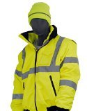 Majestic Glove 75-1300 PU Coated Polyester High Visibility Bomber Jacket with Fix Quilted Liner, X-Large, Yellow