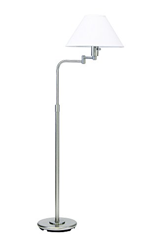House Of Troy PH101-52 Home/Office Collection Portable Swing Arm Floor Lamp, Satin Nickel with White Hardback