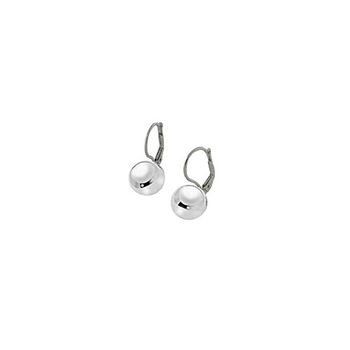 Sterling Silver Italian 10MM Ball Lever Back Earrings with Earring Dimension of 10MMx22.23MM