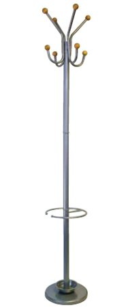 HPP INC Six Foot Silver Coat Rack with Umbrella Holder