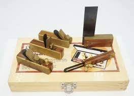 NEW MINIATURE WOODWORKING TOOL KIT - BLOCK PLANE, TRY SQUARE, ADJUSTABLE BEVEL - 5 PIECE SET