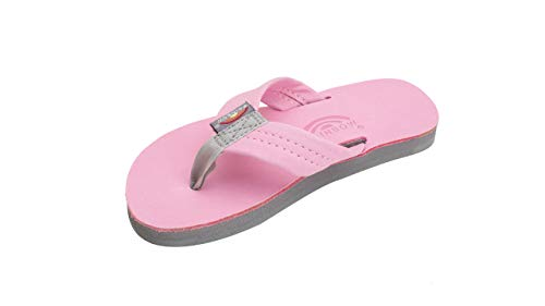 (Rainbow Sandals Kid's Single Layer Premier Leather Sandals, Pink/Grey, Toddler 5-6 B(M) US)