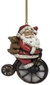 On Holiday Santa on Vintage Style Bicycle Holding a Bear Christmas Tree Ornament