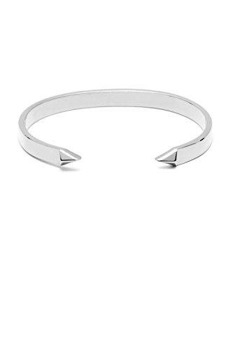 Plated Bullet (FORZIANI BULLET – Polished Rhodium Plated Stainless Steel Cuff Bracelet, Adjustable, Luxury Gift Box and Leather Pouch included, Unisex, Perfect Gift for Christmas)