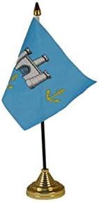 Flagmania® 12 Stück Isle of Wight alte Tischflaggen und Goldfarbene Kunststoffkegel + 59 mm Button Badge