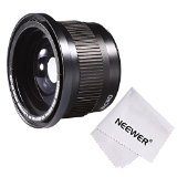 Neewer 58MM 0.35X Super Fisheye Wide Angle Lens w/ Macro Close Up Conversion Lens for CANON REBEL (T5i T4i T3i T2i T1i XT XTi XSi SL1), CANON EOS (700D 650D 600D 1100D 550D 500D 100D 60D 7D) DSLR Cameras + Microfiber Cleaning Cloth