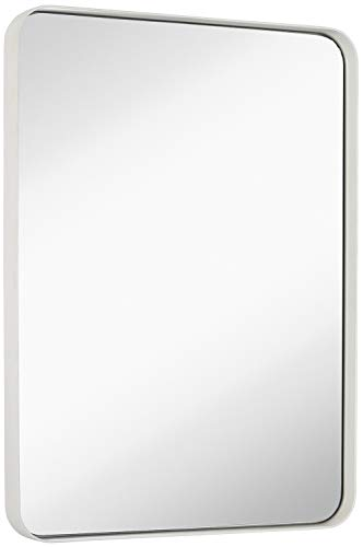 Hamilton Hills Contemporary White Metal Wall Mirror | Glass Panel White Framed -