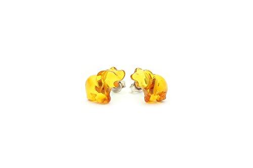 (Genuine Natural Baltic Amber Earrings Elephants)