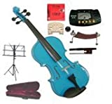 "Merano 15"" Blue Viola with Case and Bow+Extra Set of Strings, Extra Bridge, Shoulder Rest, Rosin, Metro Tuner, Black Music Stand, Mute"