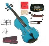 Merano 14'' Blue Viola with Case and Bow+Extra Set of Strings, Extra Bridge, Shoulder Rest, Rosin, Metro Tuner,Black Music Stand, Mute