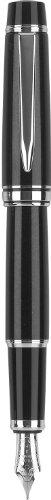Pilot Stargazer Pearl Lacquer Fountain Pen with Rhodium Accents, Medium Nib, Black Finish (60968) (Lacquer Pen Fountain)