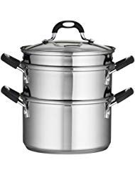 Tri-Ply Base Construction, Durable, 18/10 Stainless Steel 4-Piece 3-Quart Steamer/Double-Boiler, Silver ()