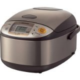 Zojirushi NS-TSC10 5-1/2-Cup (Uncooked) Rice Cooker and Warmer, Stainless Steel  The Micom Rice Cooker & Warmer not only cooks flawless rice but also comes with a steaming basket to double as a steamer and a cake menu setting to bake ca...