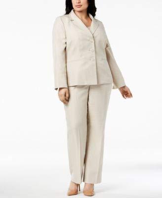 Le Suit Women's Size Plus Stripe 3 BTN JKT Notch Collar Pant Suit, Taupe, 18W ()
