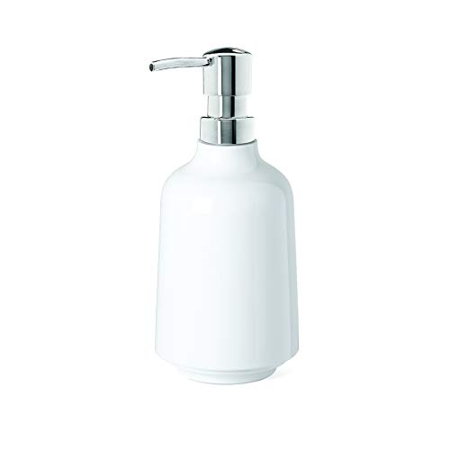 Umbra Step Liquid Soap Pump Dispenser, Also Works With Hand Sanitizer, Easy to Refill, 3-1/2″ diam. x 7″ h, White