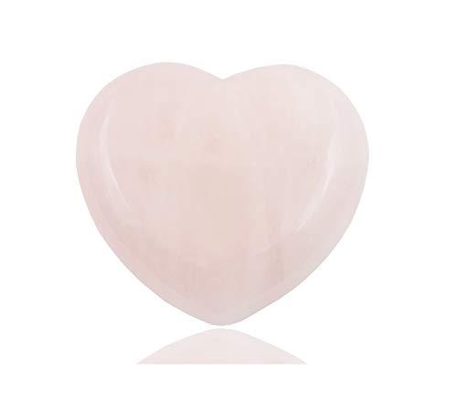 (THINK POSITIVE Natural Rose Quartz Heart Love Healing Crystal Palm Stone)