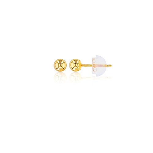 14K Yellow Gold 4MM Ball Stud (Baby Yellow Earrings)