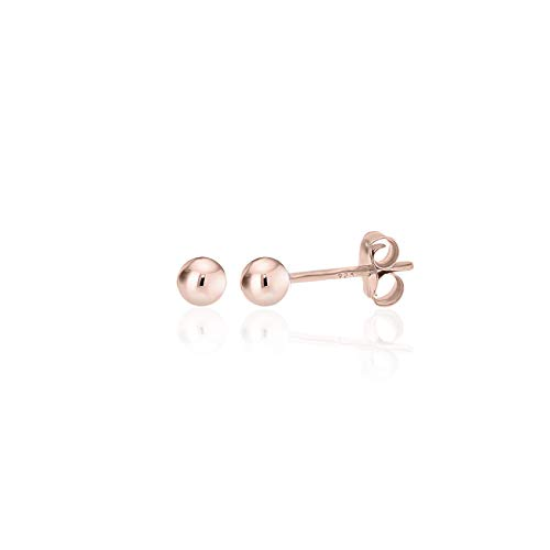 Rose Gold Plated Polished Sterling Silver Round 3mm Ball Bead Stud Earrings