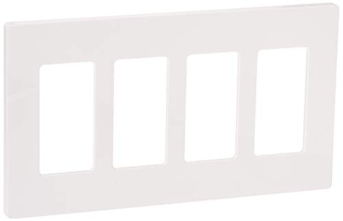 LUTRON CW-4-WH 4-Gang Claro Wall Plate, White