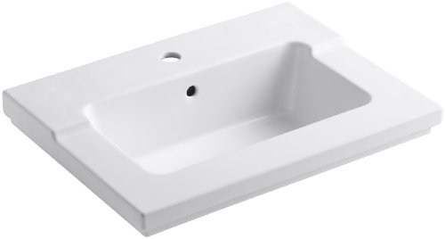 KOHLER K-2979-1-0 Tresham One-Piece Surface and Integrated Bathroom Sink with Single-Hole Faucet Drilling, White (Shaker Single Style)