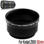 52mm Digital Camera Adapter Tube Ring for Kodak Z650/Z740 (Black)