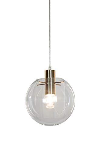 Satin Pendant Clear Gold (EQLight EQMCS8C Mid Century Globe Lighting, Pendant, Ceiling Mounted, Satin Brass, Gold)