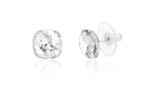 (Devin Rose Cushion Solitaire Stud Earrings for Women in Stainless Steel made with Swarovski Crystal (Crystal Color))