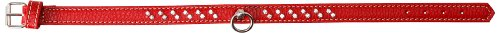 Petego La Cinopelca Flat Calfskin Collar with Crystals, Red, Large, 1-Inch by 15-Inch
