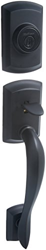 Kwikset 800AVH Lip 514 SMT Avalon Single Cylinder Handleset, Exterior Only, Iron Black ()