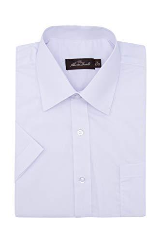 Alberto Danelli Men's Short Sleeve Dress Shirt, White, 3X 19-19.5