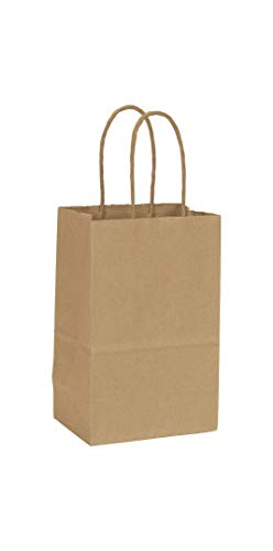 Solid Color Pattern Shopping Bags - Recycled Kraft Paper Shoppers Mini Cub, 5 1/4x3 1/2x8 1/4