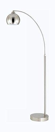 Brushed Steel Single Light 100 Watt Arc Floor Lamp with Metal Shade (Lamp Floor Single Shade)