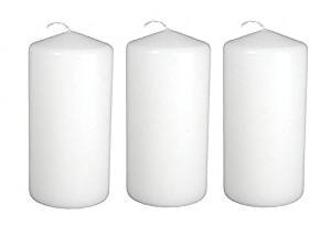 Dlight Online 3 X 6 Pillar Candles Bulk Event Pack Round Unscented White Pillar Candles - Set of 12 (3 X 6, White)